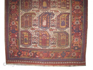 """Khamseh Persian knotted circa in 1890 antique. 167 x 126 (cm) 5' 6"""" x 4' 2""""  carpet ID: K-4083 The knots, the warp and the weft threads are 100% wool. Both edges  ..."""