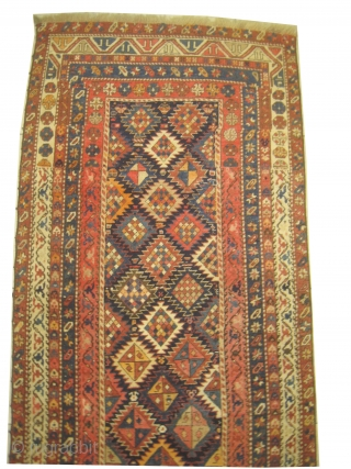 Kazak Caucasian, knotted circa in 1905 antique, 108 x 315 cm, carpet ID: SRO-4 The background is indigo, high pile, probably it was a pair, one edge is replaced.