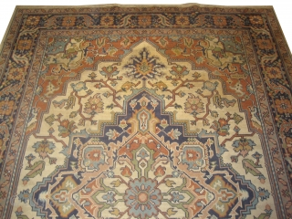 """Swiss Knotted carpet circa in 1940 old, 284 x 198 (cm) 9' 4"""" x 6' 6""""  carpet ID: FM-6 Knotted with hand spun wool by Swiss artist, the background color is ivory,  ..."""