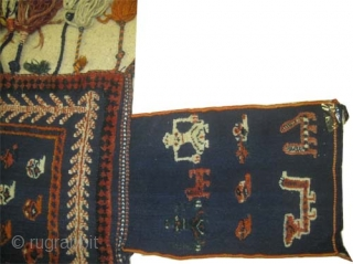 """Horse cover Gabbeh Nomad/Qashqai Persian circa 1915, antique, collector's item, Size: 154 x 154 (cm) 5' 1"""" x 5' 1""""  carpet ID: A-1273  Woven with hand spun wool and three different  ..."""