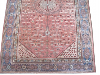 """Samarkand rug, knotted circa in 1928, semi antique, 280 x 182 (cm) 9' 2"""" x 6'  carpet ID: MJW-3 The background is light terracotta, the four corners and the center medallion are  ..."""