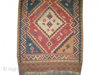 """Qashqai kelim Persian, antique. Collector's item, Size: 238 x 127 (cm) 7' 10"""" x 4' 2""""  carpet ID: A-548  vegetable dyes, the black color is oxidized, woven with hand spun 100%  ..."""