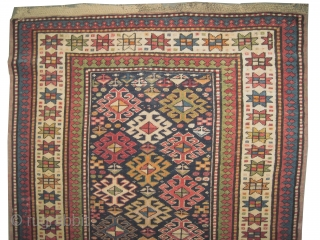 """Fachralo-Kazak Caucasian knotted circa in 1918 antique, collectors item, Size: 258 x 102 (cm) 8' 6"""" x 3' 4""""  carpet ID: RS-222 In good condition, high pile, indigo background with all over  ..."""