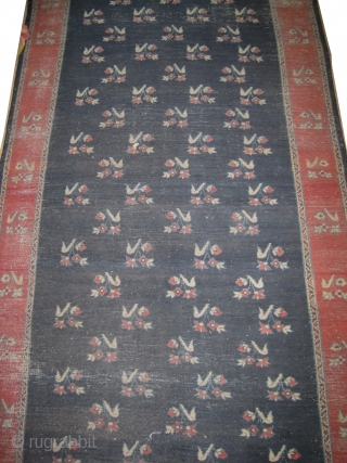 """Sparta Turkish knotted circa in 1935, semi antique. Size: 1014 x 158 (cm) 33' 3"""" x 5' 2""""  CarpetID: P-6287  All over design, the background is blue, the surrounded large border  ..."""