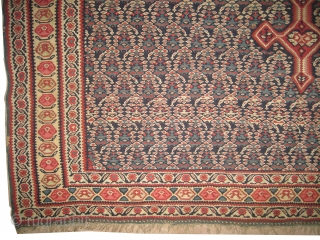 """Senneh kelim Persian, circa 1860 antique. Collector's item, Size: 198 x 152 (cm) 6' 6"""" x 5'  carpet ID: A-316 vegetable dyes, hand spun 100% wool. The weft threads are wool,  ..."""