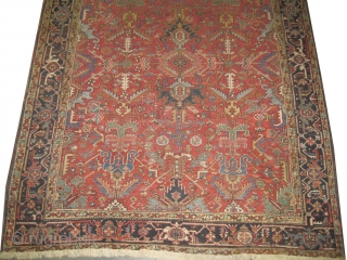 """Heriz Persian circa 1905 antique. Collector's item, Size: 309 x 244 (cm) 10' 2"""" x 8'    carpet ID: P-6086 vegetable dyes, the black color is oxidized, the knots are hand  ..."""