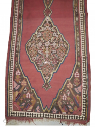 Bidjar kilim Persian, woven circa in 1910 antique, collectors item, 416 x 118 cm,  carpet ID: MAM-14 The warp and the weft threads are wool, three holes to be repaired, rare example  ...