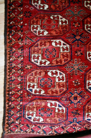 Antique Ersari Main carpet, third quarter 19c., approx. 6 x 11 feet,  very good thick pile with some local wear and a few small reweaves,  minor insect nibbles, glowing cheery  ...