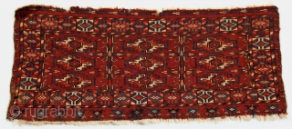 Tekke tribal trapping, mid-19c 9-gol torba of generous proportions. Finely woven with lustrous, springy wool, saturated clear natural dyes, full pile. Attractive blossom elem at bottom and soldat stripe along top. Condition  ...