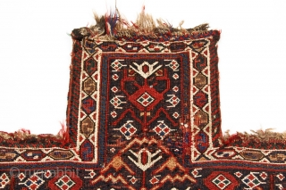 Very nice collectible large Bakhtiari tribal salt bag in very good condition with original striped back. Vegetal dyes, brocaded face with attractive pile panel along the bottom. Marsh Collection.