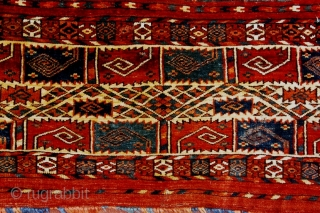 A very rare Tekke trapping, or germech, first half 19th century. Exhibited at ICOC 1996 and published in Oriental Rugs from Atlantic Collections, p 204, fig 246. The pattern of stylized curled  ...