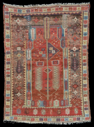 """Fine and Beautiful Mid-19th cent. Melas Prayer 3' 4"""" x 4' 5"""", Glorious old colors, lots of aubergene, green, yellow and light blues! Top end and sides mostly original with losses to  ..."""