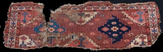 """Early, Rare and Beautiful! 1800 P-Chodor fragmented Torba, 1'1"""" x 3'7"""", Exceptionally well drawn, these early Yomud weave Proto Chodor weavings are extremely rare.  With delicately extended necks topped with precise  ..."""