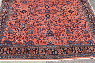 "Beautiful Early 20th century Oversized Lilahan Carpet 12'10"" x 17'7"", hard to find unpainted early carpet in good condition with original sides, ends and large scale all-over design.  Dyed with vegetable  ..."