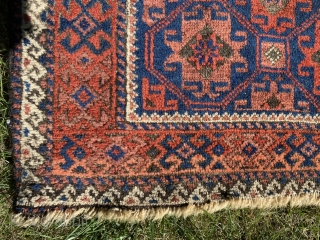 "Sold! Nice old Baluchi. 36"" x 60"". Good pile but corroded brown. Great wool and natural dyes including salmon red. $150"