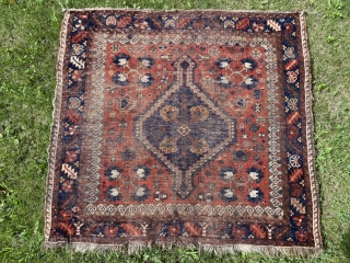 Sold!  Khamseh rug or Bagface of unusual proportion and quality. The quatrefoil motif in the 4 corners is repeated in the center medallion. Awesome! The dyes are stellar. The wool is  ...