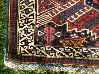 """Seichour Kuba! Excellent colors and condition. 72"""" X 45"""".  Probably pre-1900, judging from the dyes. The dark blue/black is somewhat corrosive in one corner leading to minor pile loss. Ends and  ..."""