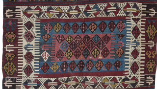 Semi-Antique Kilim. Beautifully drawn village Hotamis Kilim with numbers of delicate motifs in elegant all naturals colours. This is a rare piece in big size, maybe kept in a chest for years. Great  ...