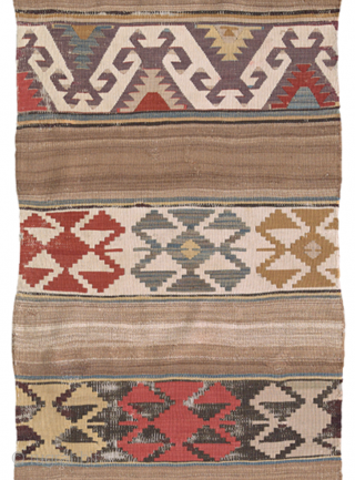 Delicate tribal flatweave from west Anatolia in camel hair and wool. The stripe is not complete, the condition is good, but showing some weakness (oxydation by the dark brown threads, little damage  ...