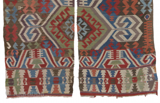 Antique central anatolian Kilim. A two parts tribal flatweave from central Anatolia in great natural dies colours. One stripe is complete and in a good condition, with some old restorations. The other one  ...