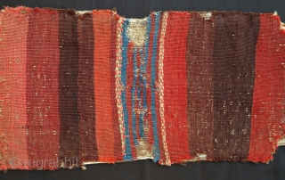"""Luri/Bakhtiari Small Khorjin, ca. 1860, 27x106cm. Beautiful early colors, including """"emerald"""" green background. Great flatwoven stripes at the bridge and on the back. Authentic utilitarian object with nice attention to details. Backed  ..."""
