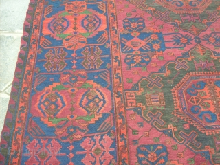370 x 220  cm Very old Caucasus SOUMACK  Wool on wool - Beautiful colors. Other info or photos about it on request. Happy New YEAR ! GREETING from Lake of COMO !   Venduto in COMO  ...