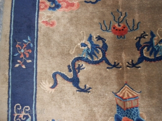 China-CATAI antique carpet (first quarter of XX century) dragon patter. Very good condition. Size cm. 233 by 160 cm. Brilliant wool. No holes, no stains, no repils. Chinese antique carpet from Gansu province  ...