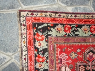 Measure:  cm.  3 8 7  x  1 2 5   cm. Perfect condition.  Old Lampa Karabagh  Wool on wool  The runner has been washed. Other info or photos  ...