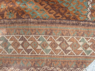 299 x 140 cm. is the size of this antique BELOUCH knotted MUSHWANI tribe.