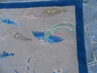 207 x 125 cm  = ft. 6,79 x 4,10.  Oriental antique carpet knotted in CHINA-Beijing. Very good condition: full pile, no restors, repils, stains: all OK! Orginal pattern and shiny wool. Other photos and info  ...