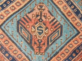 Oriental antique carpet knotted in Persian Azerbaijan. I think Meshkin or Baksheyesh village. In very good condition. Period about 1890/1910. All original ends and size. Wool on wool. Original design. Other info or pictures on request. All the  ...