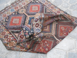 316 x 166  cm  Antique South-west persian carpet in good condition (look the photos). Wull pile but with 4/5 holes. All wool and natural dyes. Original patter. I think QASQHA'I or LORY antique carpet.  Please, ask  ...