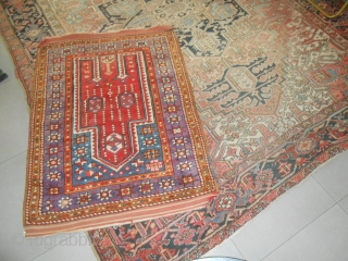 144 x 107  cm. is the exact size of this old ANATOLIAN carpet. In very ggod condition.  ALL WOOL. Beautiful old piece.  More pictures or info on request. Thanks for your attention  ...