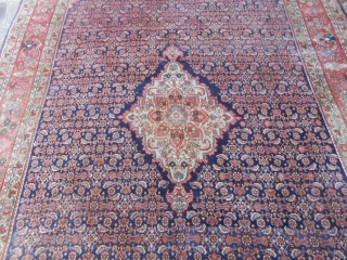 OLD Persian BIDJAR in very good condition. The carpet has been professionally washed. Size  cm. 334 x 221  cm.  Shiny wool and beautiful colours. Very fine knot for this carpet. Reasonable price.  WARM REGARDS  ...