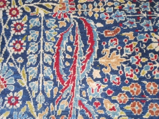 216 x 140 cm  (ft.7.08 by ft.4.59)  In very good condition (full pile and It has not been restored). All original.  Beautiful colours and shiny wool for this antique TEHERAN.  This antique Teheran has  ...