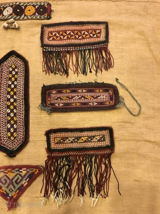 Turkmen tekke amulet, Ethnic evil eyes amulet, talisman embroidery, vintage homedecor textiles, tribal ornaments accessories  Almost similar size more or less  Size: Height : 7 cm Lenght : 17 cm  Totally 9 pieces   Amulet or Talisman  ...