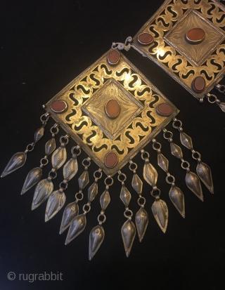 Antique unique turkmen silver pendant silver jewelry   Height: 19 cm Length: 12 cm