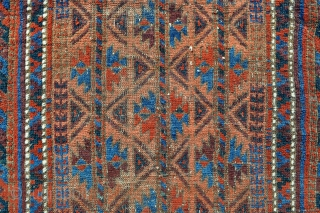 Baluch Rug - Great colors and floppy soft handle, feels rather old. - 2'4 x 3'11 / 71 x 119 cm