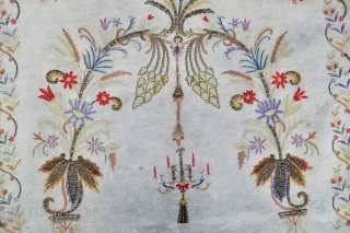 Ottoman Embroidery Prayer Rug.  Silk and metal thread embroideries in several techniques on fine wool felt.  These types of pieces are usually attributed to Bursa and sometimes to Sufi schools in other Western Anatolia  ...
