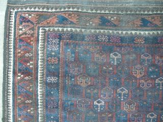 Antique Beluch rug c1900. 7ft x 3ft6 . This old Beluch is in need of a deep clean, there is good shiny wool under all the grime.The rug is in original condition  ...