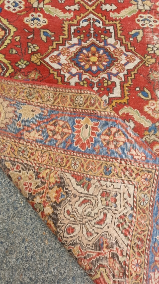 A fine Antique Mahal runner , white wefted. Light wear on one side but apart from that ok conditon. Great quality and colours. 4x112 m. 550 pounds uk.