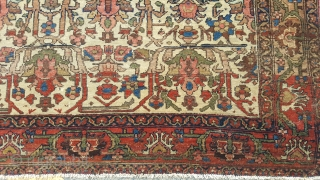 A Fine Antique Malayer rug 6ft x 4ft3. In good conditon, sides rebound and ends stopped.