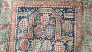 A charming Marasali shirvan rug mid 19th century. Small size approx 5ft x 3ft9. This rug is in used conditon. There are some old repairs to the ends and spots of old reweave  ...