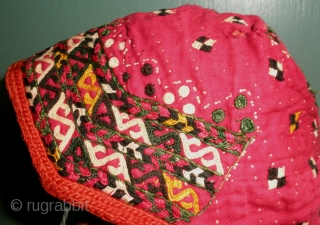 Here is a lovely old Chodor embroidered baby bonnet. Embroidered in six different colors of silk, black and white, yellow, red and two shades of green a dark green and an almost olive green  ...