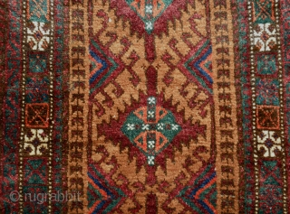 """Here is a lovely late 19th. cent. Sistan Baluch balisht measuring  20 1/2"""" wide X 36"""" long, the weaving is in very good. The colors are strong (common to Sistan but  ..."""