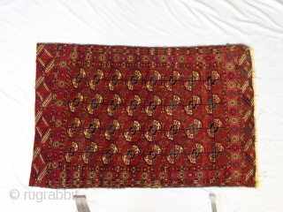 Attractive Turkoman Tekke small carpet.  Fine wool, deep, rich, brick red (appears a bit darker than in the photos), coupled with a well executed design make for a pretty rug.   ...