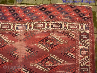 Yomud-- 6 ft x 8 ft 5 inches. Legit early ethnographic main carpet with Dyrnak gull. Well used-- tho excellent candidate for restoration. Please call for condition Report. $30 UPS to Lower  ...