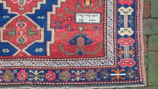 Large Kazak Rug --  5.2 x 9.7. Lots of interesting things about this rug. An inscription (I cant read) and a date which only makes sense from the back side of  ...