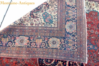 Fereghan Sarouk-- 8.8 x 12.8 Fine antique 19th century medallion piece in hard to find carpet size. Classic Fereghan border. Red hearth medallion with ivory corners.  Excellent and appropriate companion piece  ...