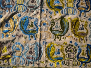 As found: An interesting antique textile measuring 9'x 5'10, is silk on linen, sewn together in the middle, in great condition, not sure of it's origin, beautiful textile.  Thanks for looking.